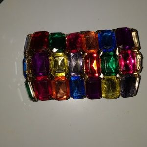 Jewelry - Rainbow colored giant precious stone cuff bracelet